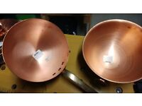 copper pans and utensils