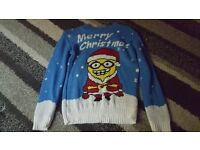 minnions christmas jumper age 7-8 years