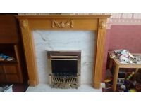 Working coal effect electric fire, wooden surround, marble base