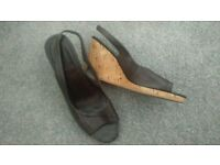 Marks and Spencer's Brown leather cork wedge UK8