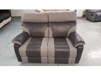 BRAND NEW ScS RALPH GREY TWO TONE 2 SEATER MANUAL RECLINER SOFA **CAN DELIVER**