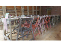 vintage chair hire, trestle tables, barrel tables , bar etc, Shropshire weddings