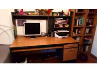 Computer desk with shelves and draws