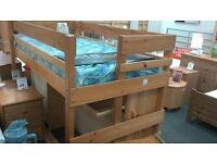 Pine Frame Hi Sleeper Bed Frame with Mattress & under bed Desk & Storage at BHF Glasgow
