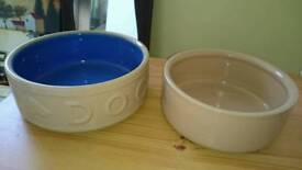 Large dog ceramic light brown bowls