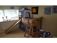 Porta Childrens Play Bed - Oak real wood veneer with slanted ladder and slide, mattress included