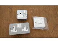 2x METAL BOX SOCKETS and 3 WAY SWITCH