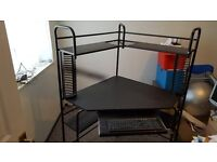 Metal computer corner desk, colour black with pullout key board draw