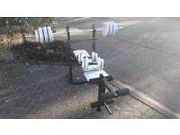 YORK WEIGHTS BENCH WITH 50KG & BARS