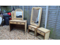 Wicker Bedroom Set - Dressing Table, Mirror's & Bedside chests