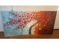 3 piece floral canvas / picture