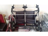 BRAND NEW - 'FIRST WHEELS CITY' TWIN BUGGY / PRAM / PUSHCHAIR / STROLLER - BLACK - DOUBLE - £250 ONO