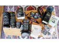 CANON 6D slr camera + 4 lenses + flash