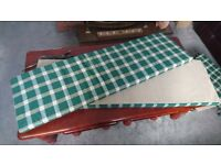 Seat cushions with ties Green checked, ideal garden/kitchen bench accessories
