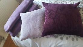 M&S and Debenhams purple throws and cushions