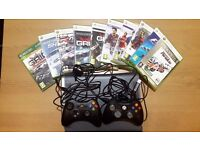 Xbox 360 - Fully working, great condition with 2 controllers, charging leads, headset and 10 games