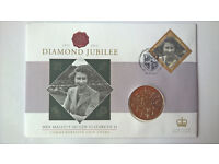 Stamp and Coin - Ltd Ed QE II Diamond Jubilee 1952-2012 set of 9 Various Coin & Stamp FDC