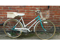 LADIES TOWN BIKE WITH BASKET LOCK AND LIGHTS- £60