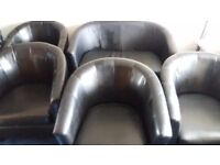 OFFICE FURNITURE JOB LOT LEATHER 4 TUB CHAIRS/ 2 SEATER SOFA
