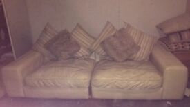 4 Seater Leather Sofa With Wear And Tear