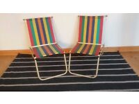 VINTAGE 1950S MATCHING PAIR CANDY STRIPE STEEL FRAMED FOLDING CAMPING CHAIRS CAMPER CARAVAN PROP GC for sale  West Midlands