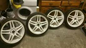"18"" DARE Motor sport, 4×108, ET15 pos, 7jj, with very good tyres 215/35/18 Fit Peugeot Citroen Ford"