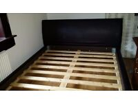 King Size Brown Leather Bed Frame