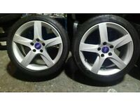 """set of mint 17"""" audi/vw alloys new tyres all round quick sale £250"""