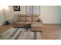 Ex-display Paloma cream leather electric recliner 3 seater chaise sofa