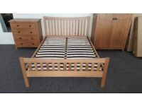 Julian Bowen Bergamo Solid Oak Double Bed Frame (BED ONLY) Can Deliver