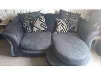 DFS Grey/Black Two Seater Sofa, Pillow Back with Foot Rest/Lounger