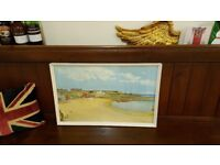 vintage oil painting of Cullercoats bay