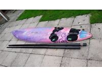 Windsurf board and full accessories including sail, boom, fin etc.