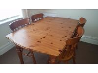 Hardly Used Pine Dining Table and Four Matching Chairs