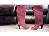 Real suede maroon high heeled boots size 3