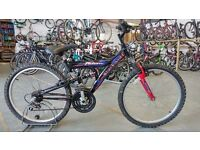 OLDER CHILDS FALCON BLACKWOLF BIKE 24 INCH WHEELS FULL SUSPENSION 18 SPEED BLACK/RED GOOD CONDITION