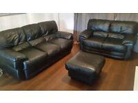 Black Leather 3+2 sofa set