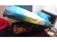 Black Faux Leather Ottoman Bed + Like New Silent Night Memory Matress