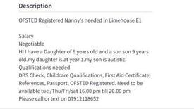 Ofsted registered nanny needed at tower hamlets