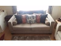 MODERN 2 SEATER SOFA, 2 BOX ARMCHAIRS AND A LARGE FOOT-STOOL/POUFFE