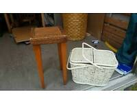 stools and wicker baskets
