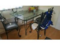 Outdoor glass table and 6 chairs metal