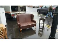 BRAND NEW EX DISPLAY 2 seater wingback sofa in brown leather was £250-we need £135!