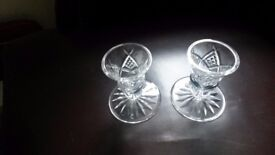 Pair of Waterford Crystal Glass candle stick holders - unused