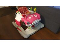 Great condition girls car baby walker with various sounds