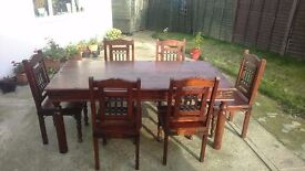 Wooden Dining Table & 6 Chairs