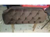 Brown fabric single headboard