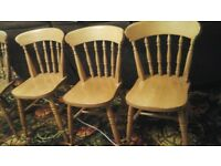 3 SPINDLE BACK PINE WOOD DINING ROOM CHAIRS + 1 DIFFERENT DESIGN USED
