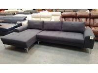 Ex-display Vittorio anthracite grey fabric chaise corner sofa