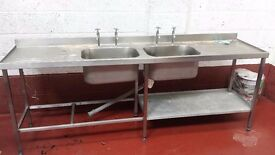 stainless steel kitchen sink and worktop, 2 bowls, hot and cold taps, width 240cm, depth 59.5cm